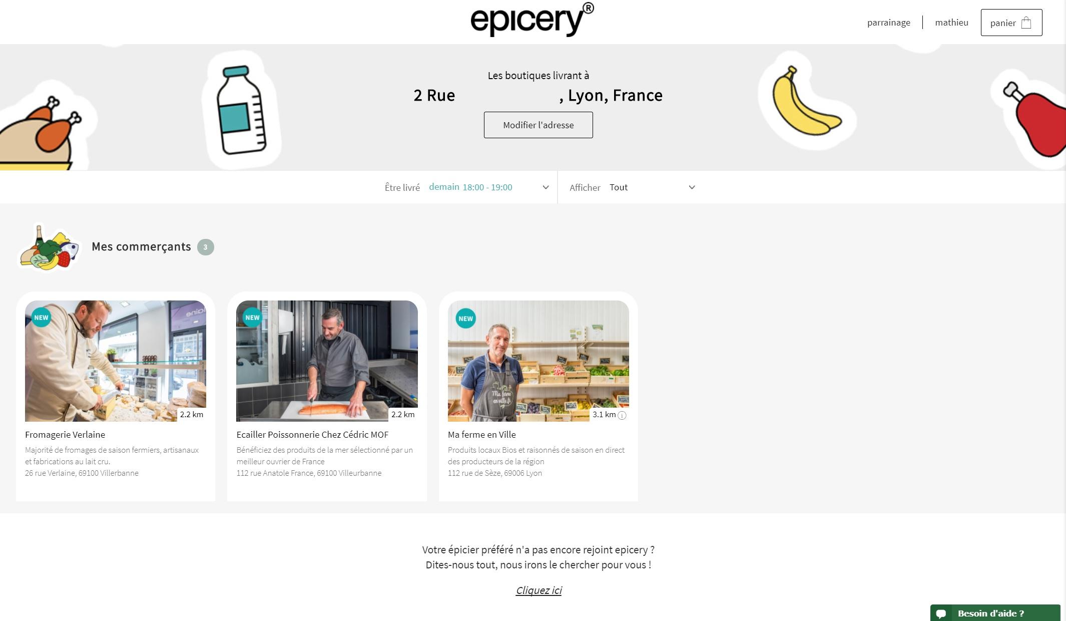 Avis Epicery - Test du site de livraison des commerces de proximité 3
