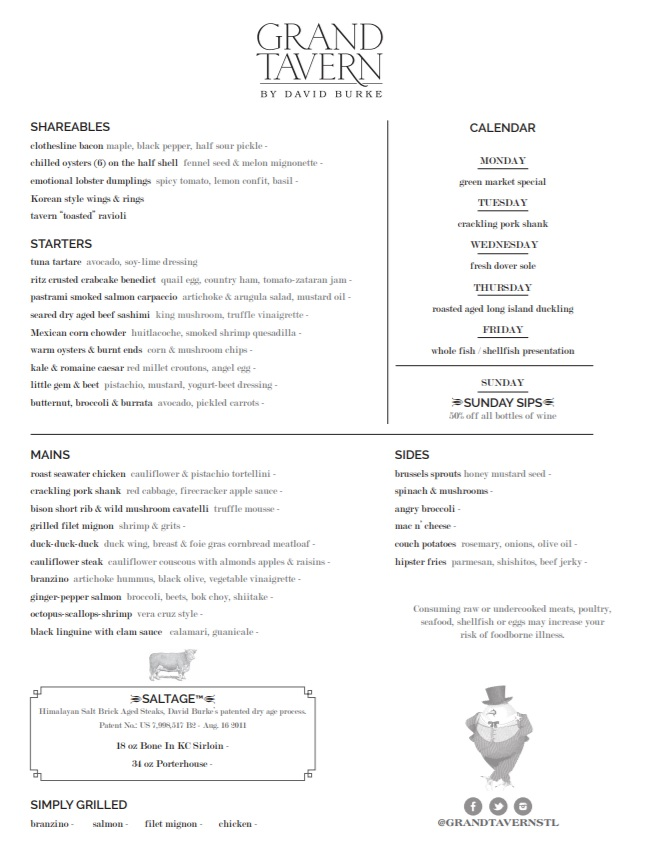 Angad Arts Hotel Menu Grand Tavern by David Burke